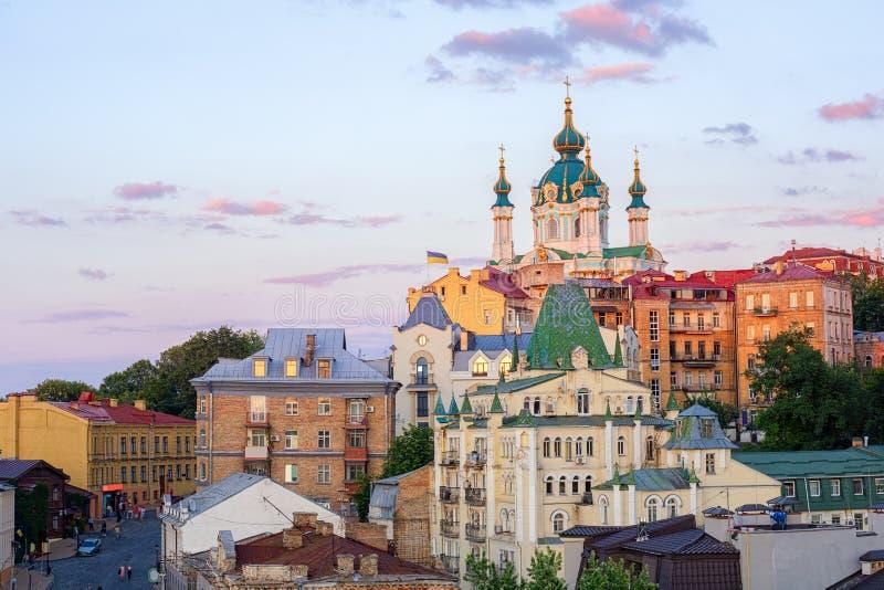 基辅,乌克兰,Andriyivskyy下降街道在老镇 库存图片