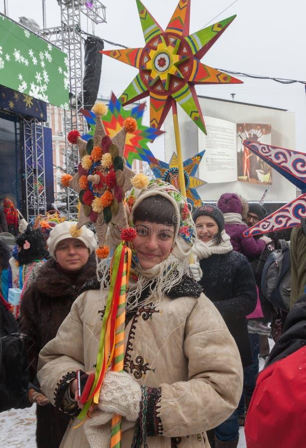 基辅,乌克兰:圣诞节庆祝在基辅 图库摄影