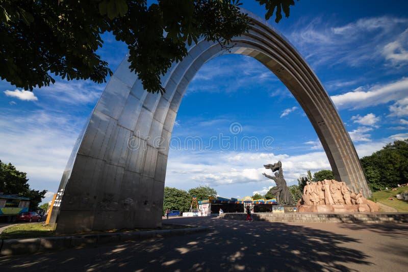 基辅,乌克兰-国家友谊曲拱奥尔考Druzhby Narodiv 库存照片