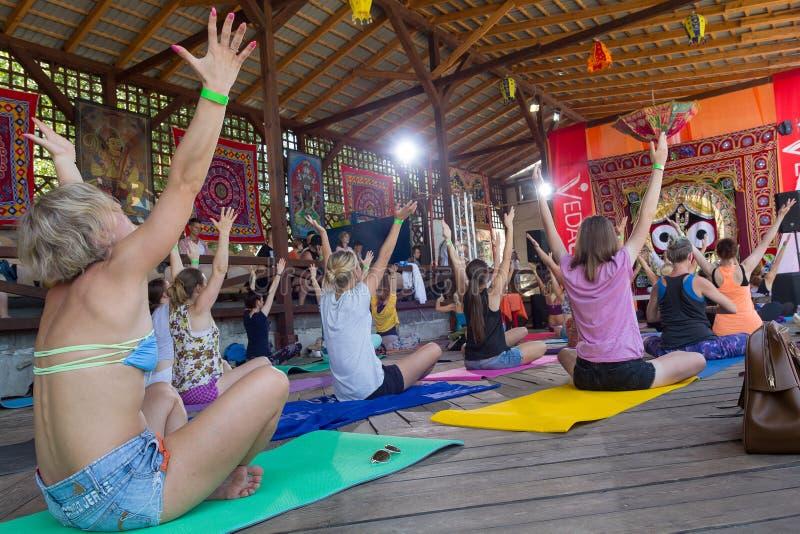基辅,乌克兰- 2017年8月03日:在节日的小组瑜伽 免版税库存照片