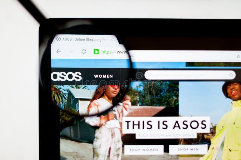 基辅,乌克兰- 2019年4月6日:ASOS网站主页 这是英国时尚电子商务商店 库存图片