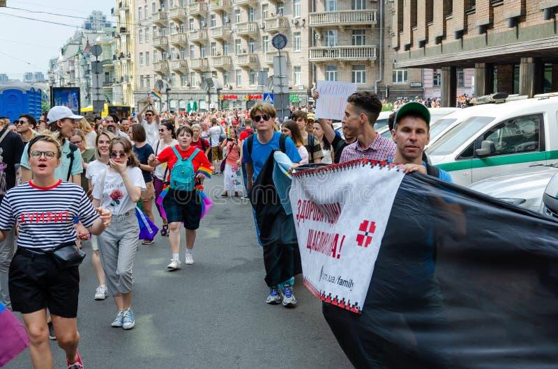基辅,乌克兰- 2019年6月23日 3月平等 LGBT行军KyivPride E 免版税库存图片