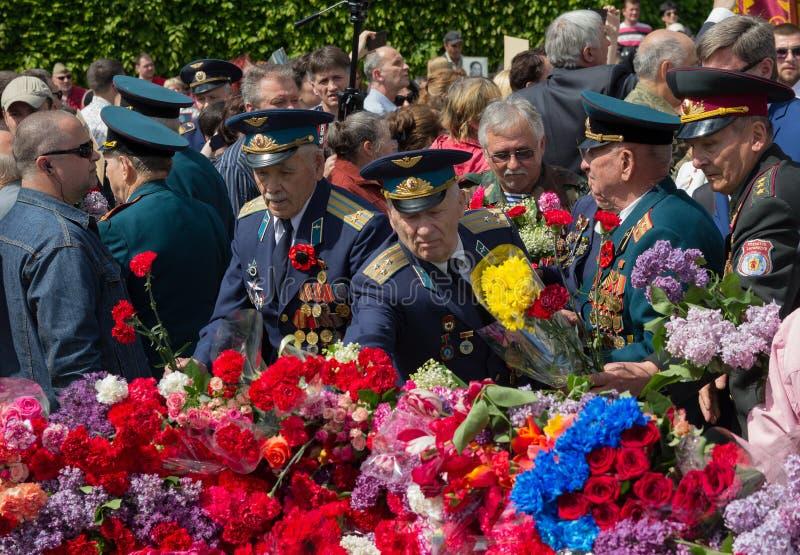 基辅,乌克兰- 2015年5月09日:二战退伍军人 库存照片