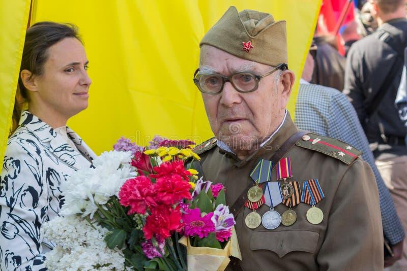 基辅,乌克兰- 2016年5月09日:第二次世界大战的退伍军人在制服的 库存图片