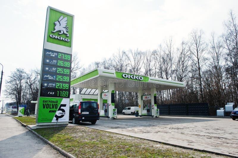 基辅,乌克兰- 2017年3月22日:OKKO加油站 免版税图库摄影