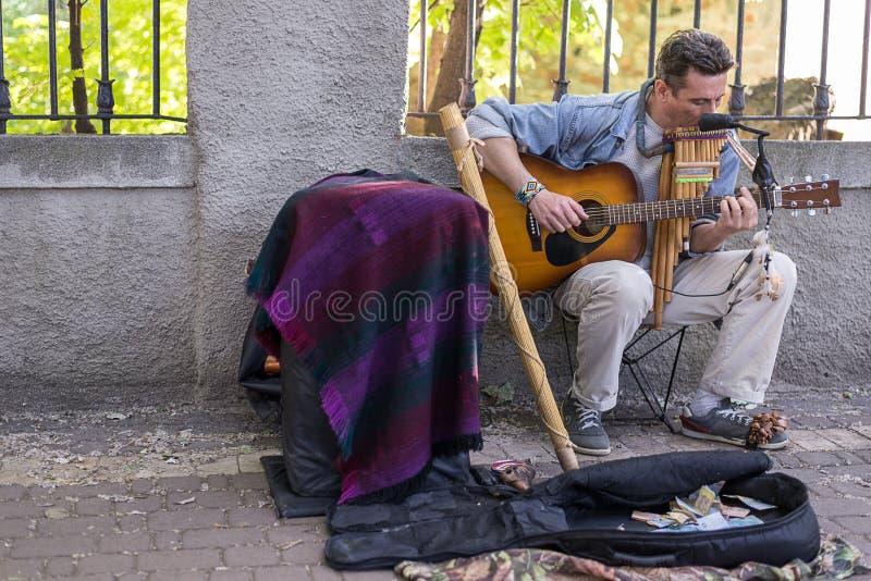 基辅,乌克兰- 2017年6月04日 街道音乐家,弹吉他的人,户外,水平的框架 免版税库存图片