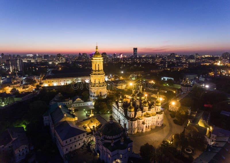 基辅Pechersk拉夫拉,基辅, Kyiv,乌克兰鸟瞰图  免版税库存图片