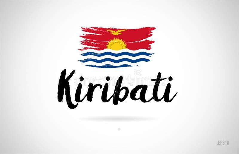 基里巴斯与难看的东西设计象商标的国旗概念 向量例证