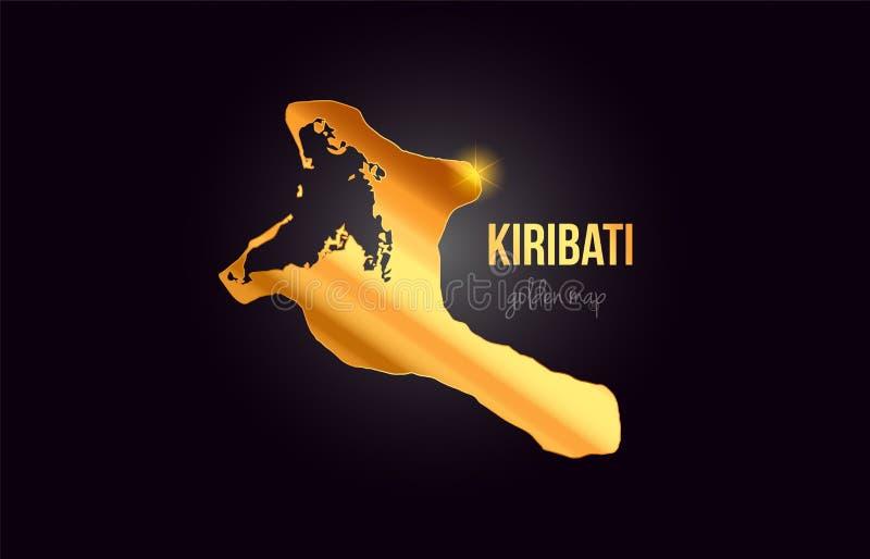 基里巴斯国家在金金黄金属颜色设计的边界地图 向量例证