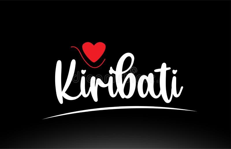 基里巴斯国家文本印刷术商标在黑背景的象设计 向量例证