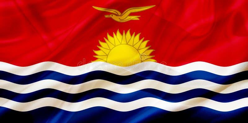 基里巴斯在丝绸或柔滑的挥动的纹理的国旗 皇族释放例证