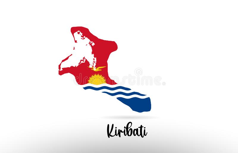 基里巴斯在地图等高设计象商标里面的国旗 皇族释放例证