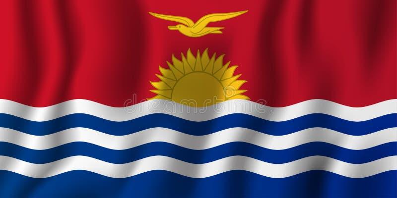 基里巴斯现实挥动的旗子传染媒介例证 全国国家背景标志 背景日减速火箭grunge的独立 库存例证