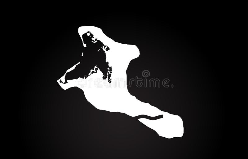 基里巴斯黑白国家边界地图商标设计 皇族释放例证