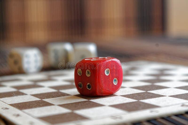 堆三白色塑料切成小方块和在棕色木板背景的一个红色模子 与黑小点的六个边立方体 第4, 2 库存照片