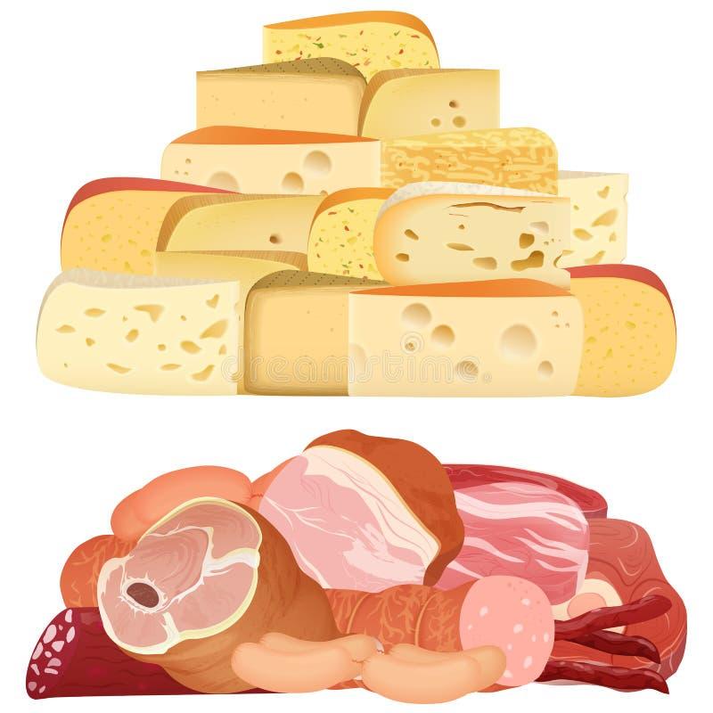 堆不同的现实纤巧乳酪和开胃肉在白色 向量例证