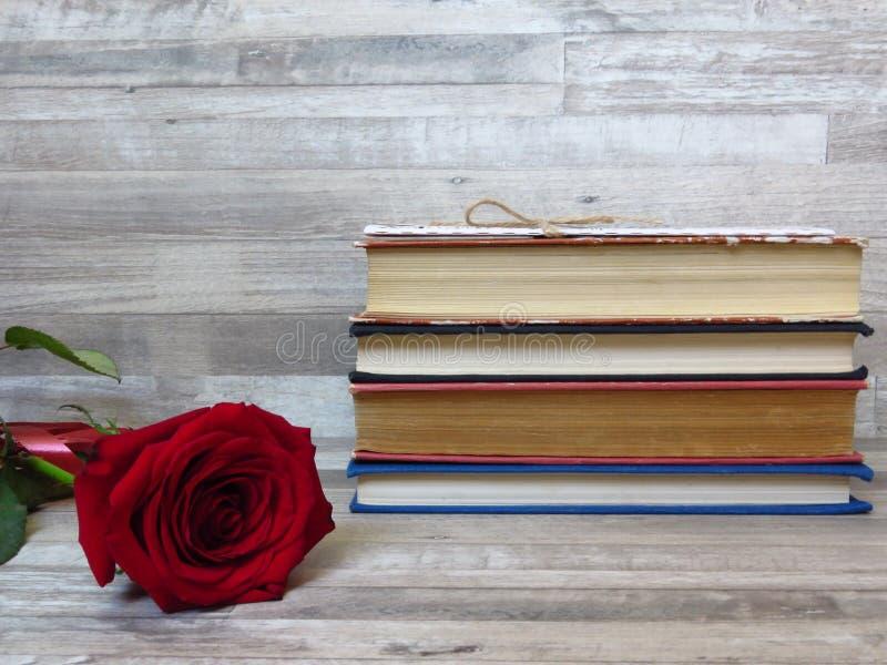 堆不同的色的旧书和一朵红色玫瑰在白色木背景 阅读习惯 内存 减速火箭的样式 免版税库存照片
