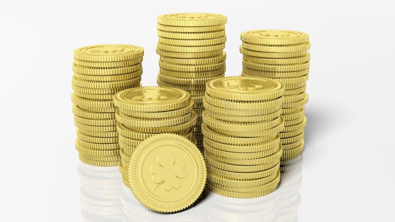 堆与三叶草叶子的金黄硬币 向量例证