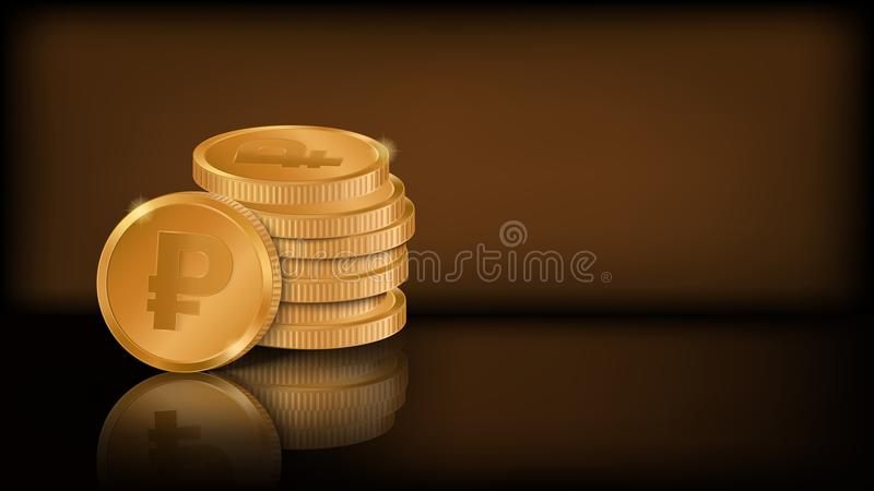 堆与俄罗斯卢布标志的风格化金黄硬币 向量例证