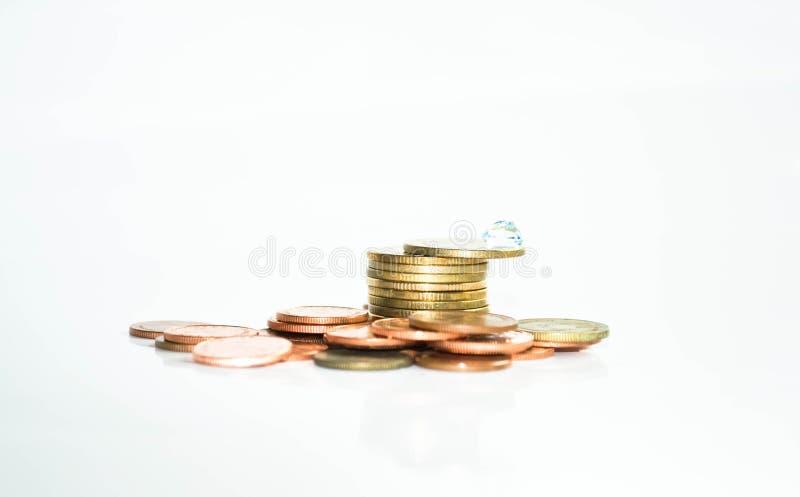 堆与宝石的硬币 库存照片
