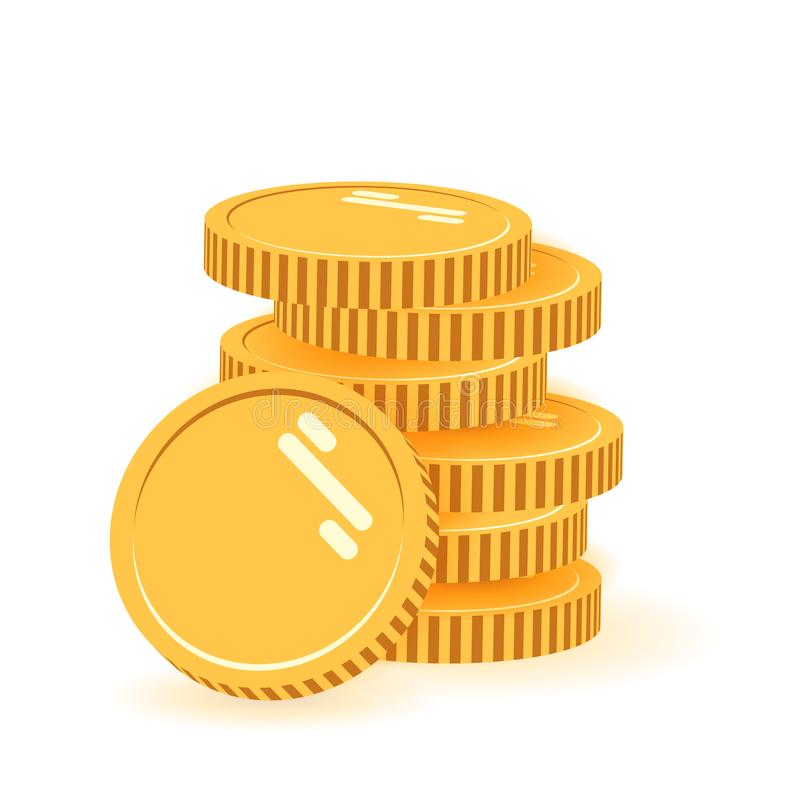 堆与硬币的硬币在它前面 平的象,硬币堆,铸造金钱,站立在被堆积的金子的一枚金黄硬币 向量例证