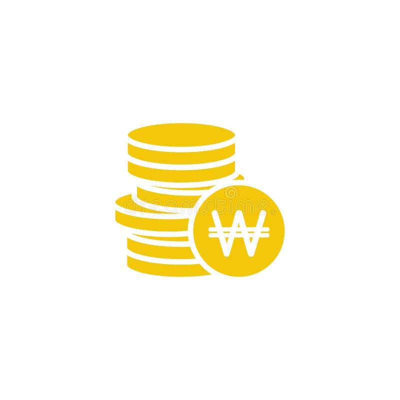 堆与硬币的韩国被赢取的硬币在它前面 平的蓝色象 查出在白色 库存例证
