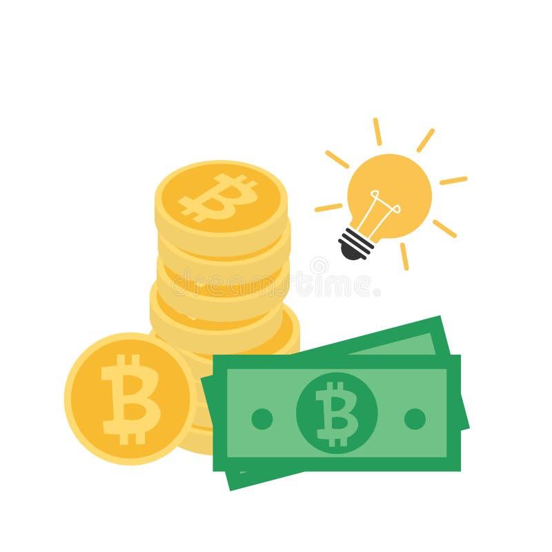 堆与金融法案现金和电灯泡的金黄bitcoin 皇族释放例证
