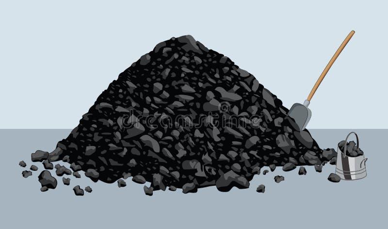 堆与铁锹和桶的煤炭 向量例证