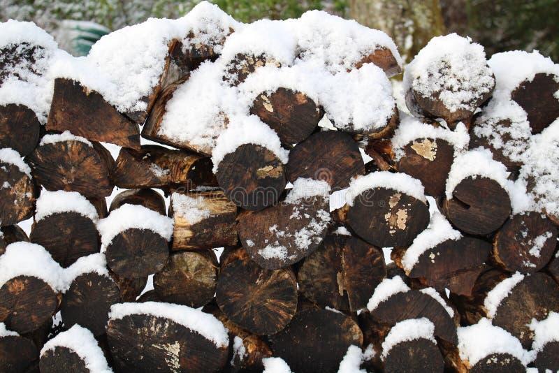堆与雪的日志 免版税库存照片