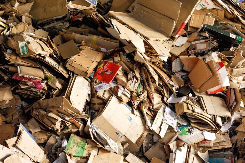 堆为回收存放的纸板箱 库存图片