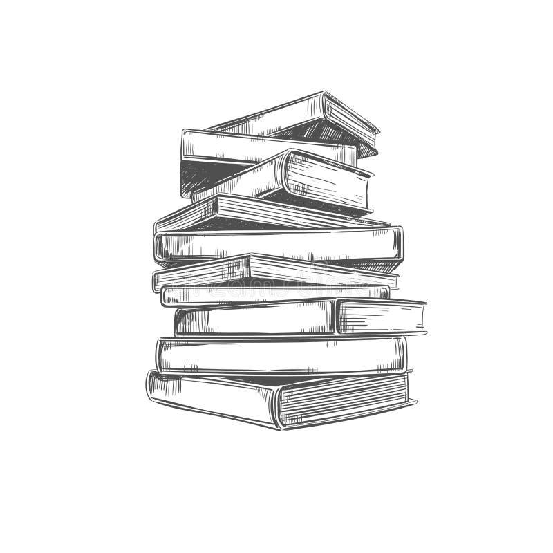 堆书 在剪影样式的传染媒介手拉的例证 图书馆 皇族释放例证