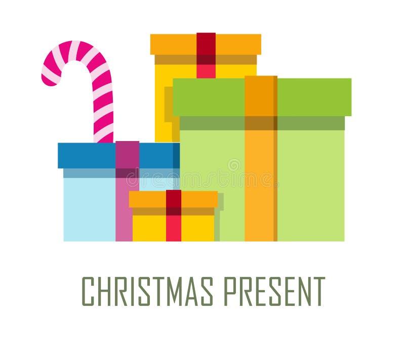 堆五颜六色的被包裹的礼物盒 库存例证