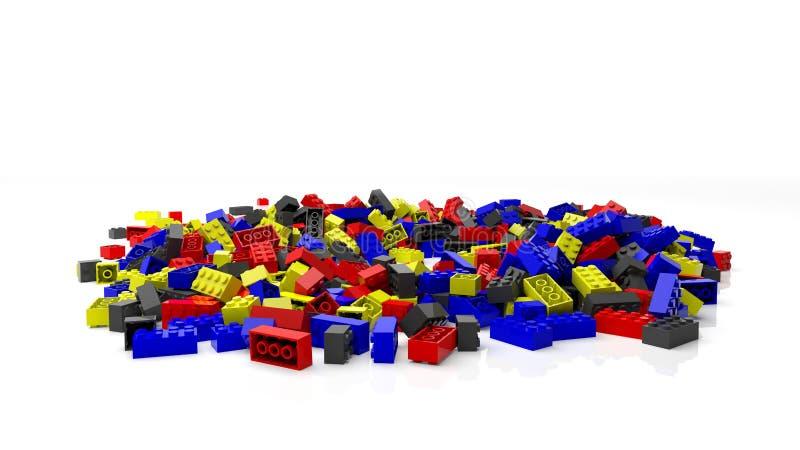 堆五颜六色的lego块 库存例证