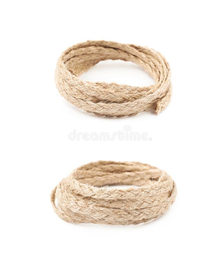 堆亚麻制绳索串 库存图片