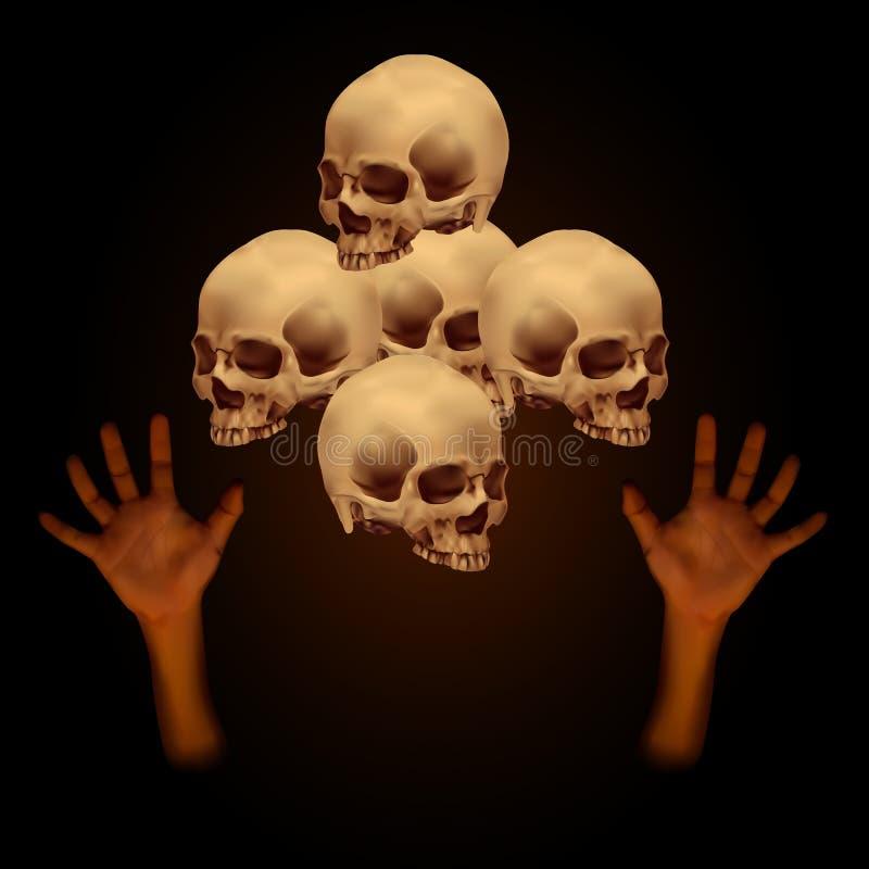 堆人的头骨用人的手 库存例证