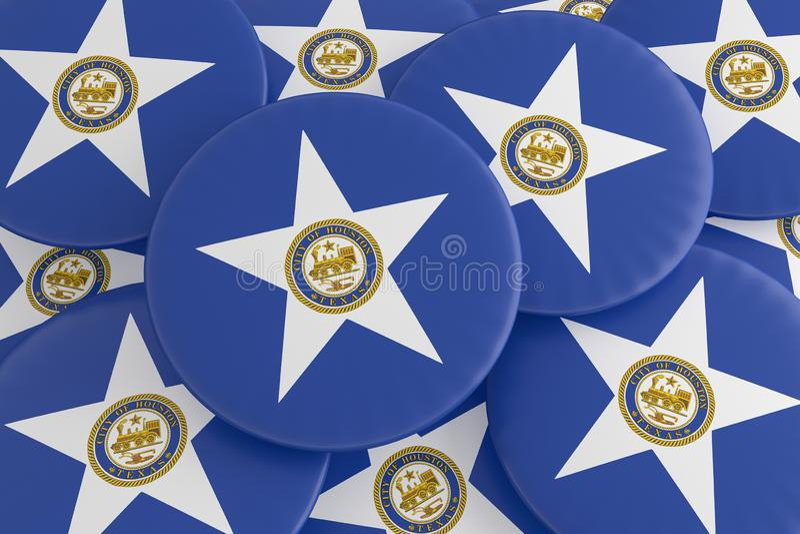 堆休斯敦,得克萨斯旗子徽章,3d例证 库存图片