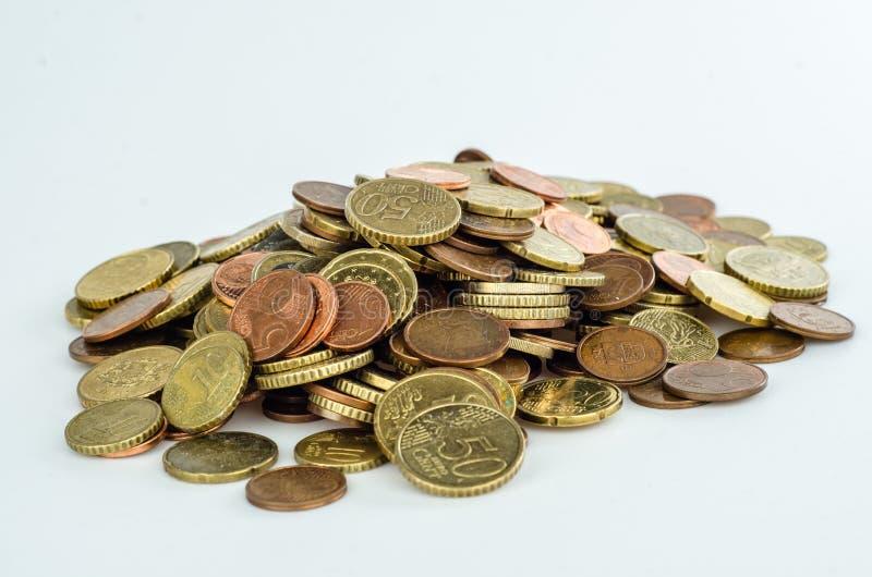 堆几枚欧洲硬币 库存图片