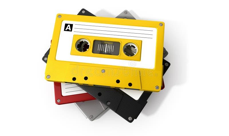 堆卡型盒式录音机磁带 免版税库存图片