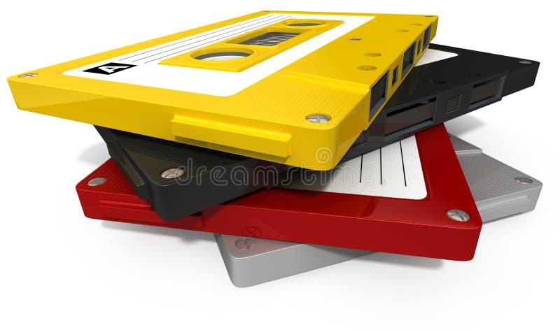 堆卡型盒式录音机磁带 库存例证