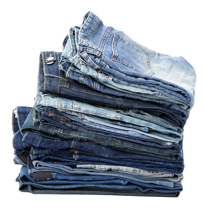 被隔绝的牛仔裤堆 库存图片