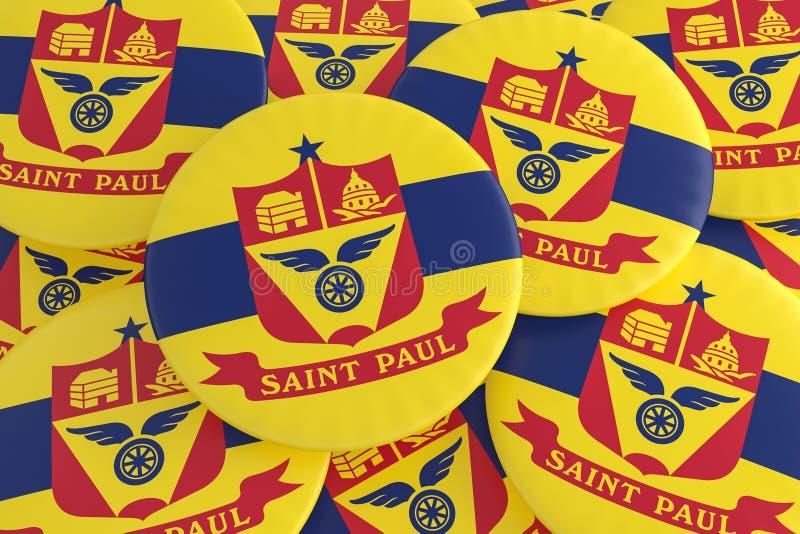 堆圣保罗,明尼苏达旗子徽章,3d例证 免版税库存图片