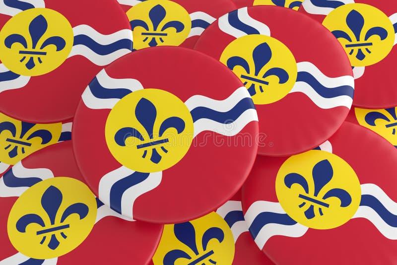 堆圣路易斯,密苏里旗子徽章,3d例证 图库摄影