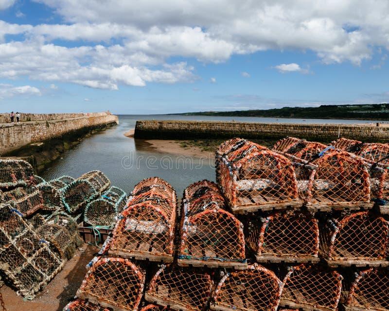 堆在一个码头的龙虾陷井在苏格兰 免版税库存照片