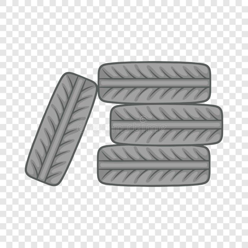 堆黑轮胎象,动画片样式 库存例证