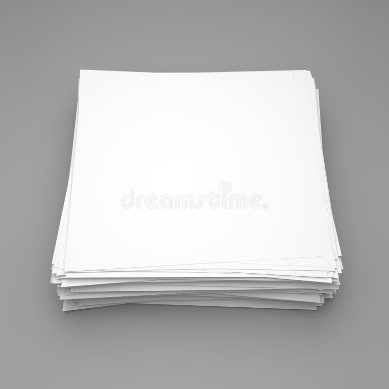堆在灰色背景的白皮书 免版税库存图片