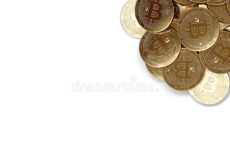 堆在白色和拷贝空间隔绝的顶正确的角落的金黄Bitcoins您的文本的 库存例证