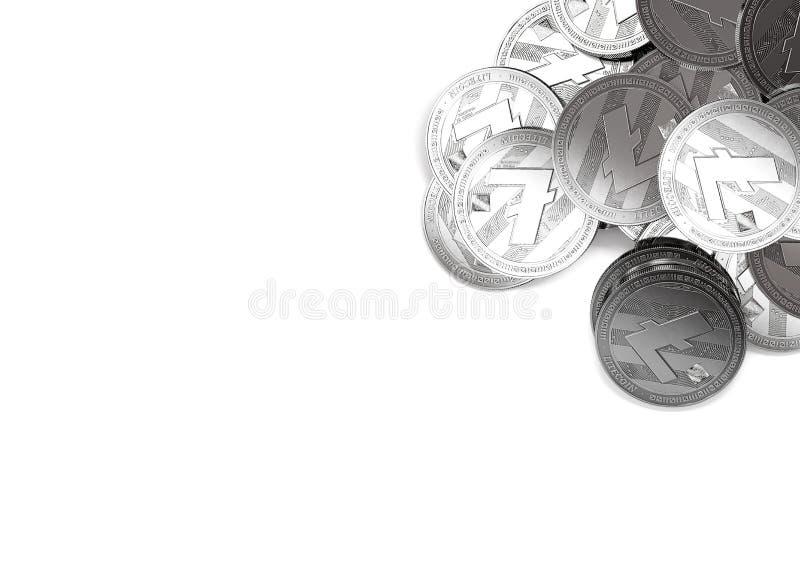 堆在白色和拷贝空间隔绝的顶正确的角落的银色Litecoins您的文本的 向量例证
