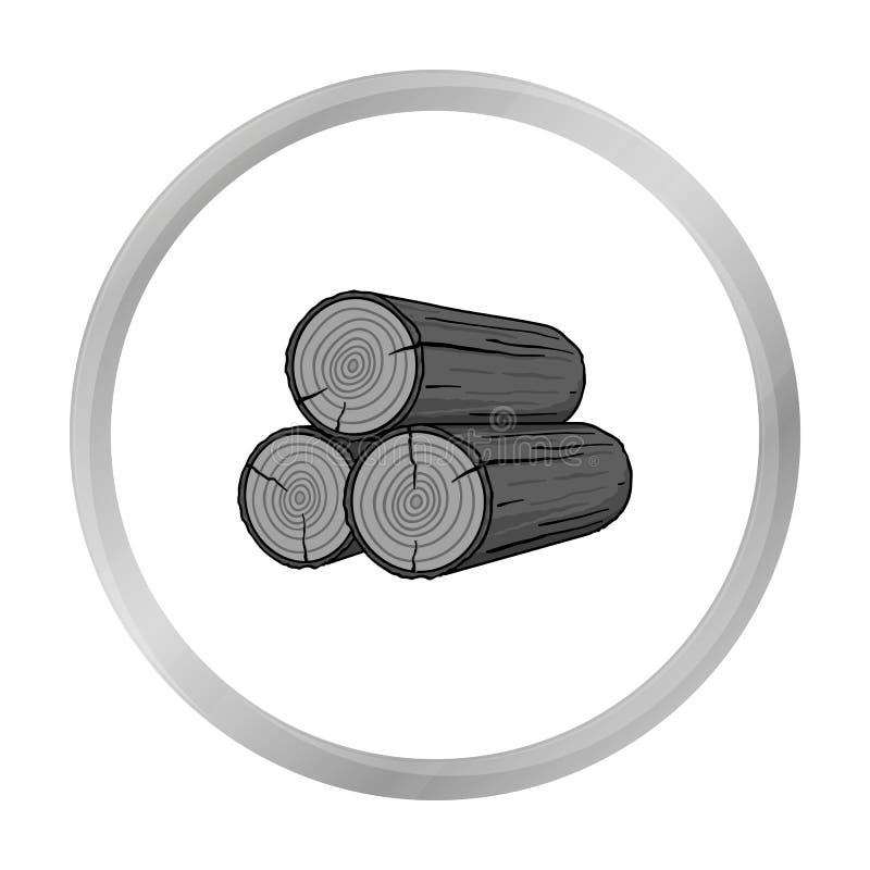 堆在白色在单色样式的日志象隔绝的 锯木厂和木材标志 库存例证