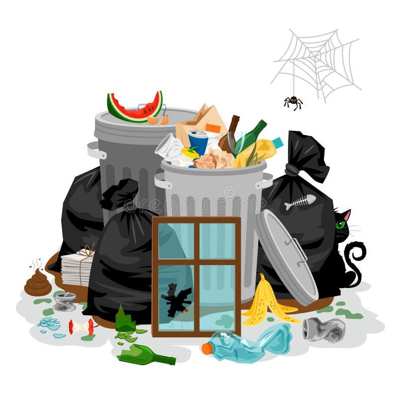 堆在白色的垃圾 乱丢废概念与与有机和家庭说废话并且破坏 向量例证