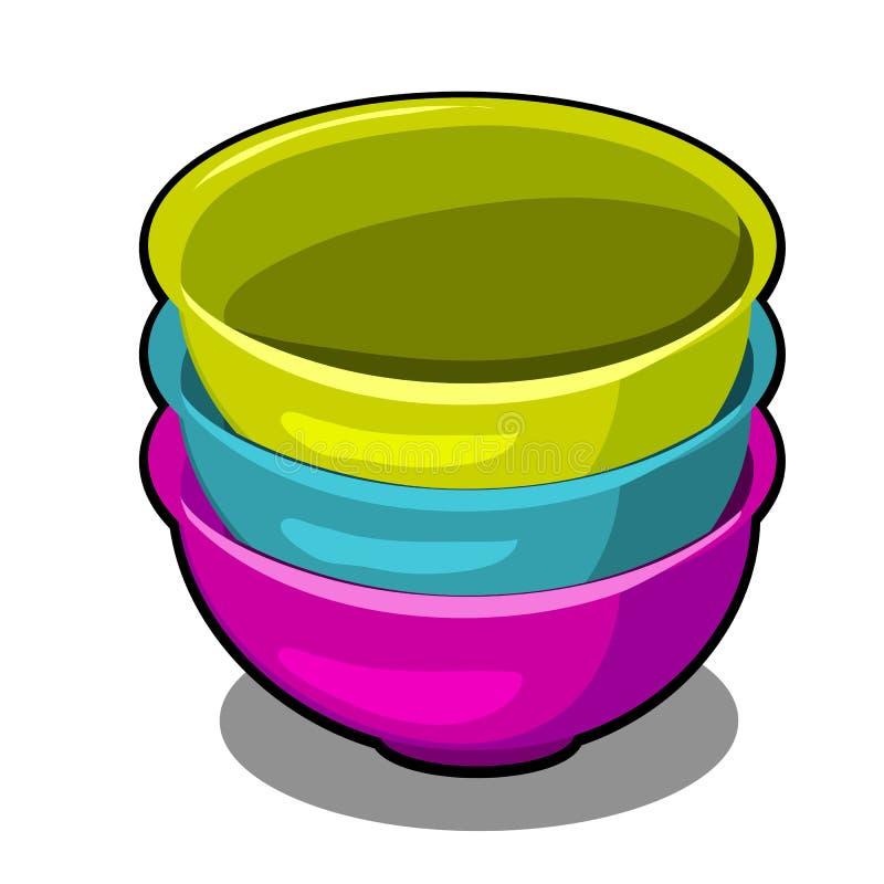 堆在白色背景不同的颜色隔绝的聚合物碗 动画片传染媒介特写镜头例证 皇族释放例证